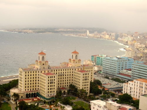 The Havana coastline and the Hotel Nacional in the forefront