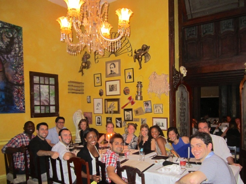 The group enjoying an amazing dinner at the private restaurant (paladar) La Guarida