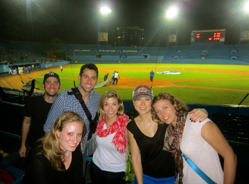 At the Industriales baseball game