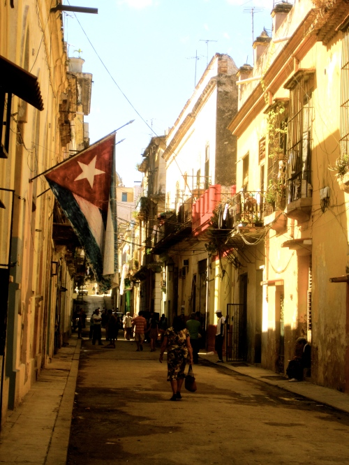 Cuban flag in the old town