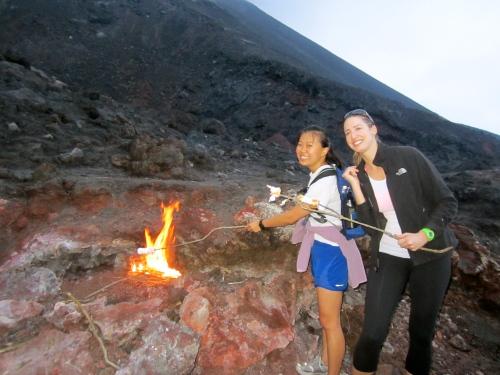 Roasting marshmallows on the Volcano!