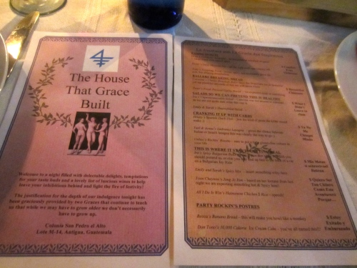 Our menu and guide for the feast!